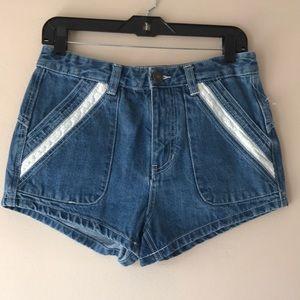 Free People Blue Denim Jean Shorts Cotton Size 27